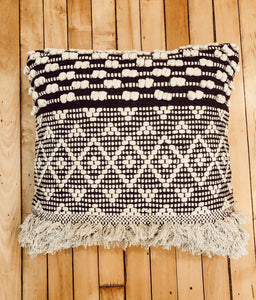 Boho Black and Cream Fringe Pillow