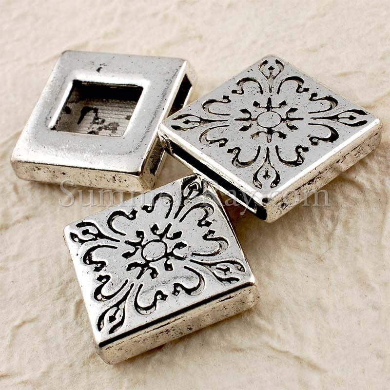Tibetan Silver Square Spacer Beads