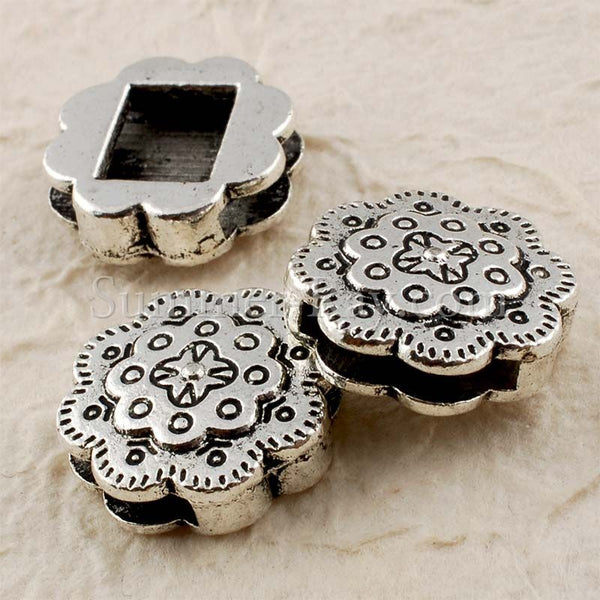 Tibetan Silver Spacer Beads - Ripple Edge 10 pieces
