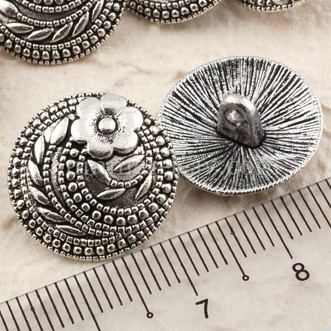 Tibetan Silver Buttons - Flower (T15353) 25 pieces