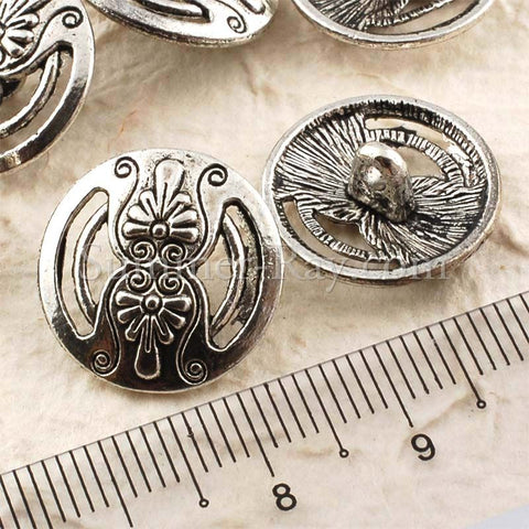 Tibetan Silver Buttons - Flower (T15356) 25 pieces