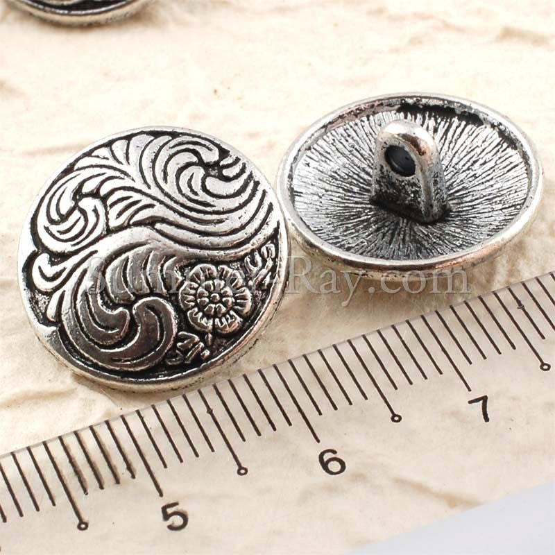 Tibetan Silver Buttons - Flower (T15358) 10 pieces
