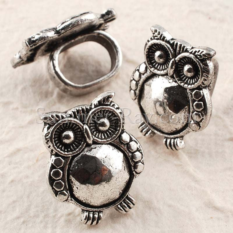 Tibetan Silver Spacer Beads - Owl 10 pieces