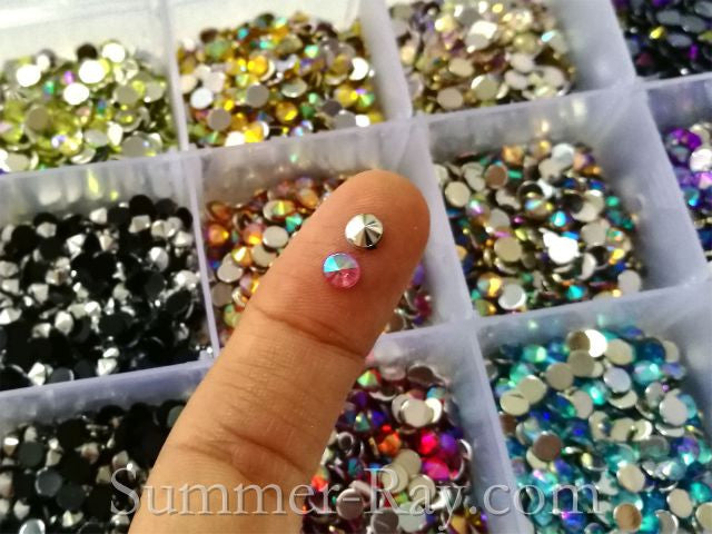 Rhinestones 4mm AB Pointed End Mixed Color in Storage Box - 4500 pieces