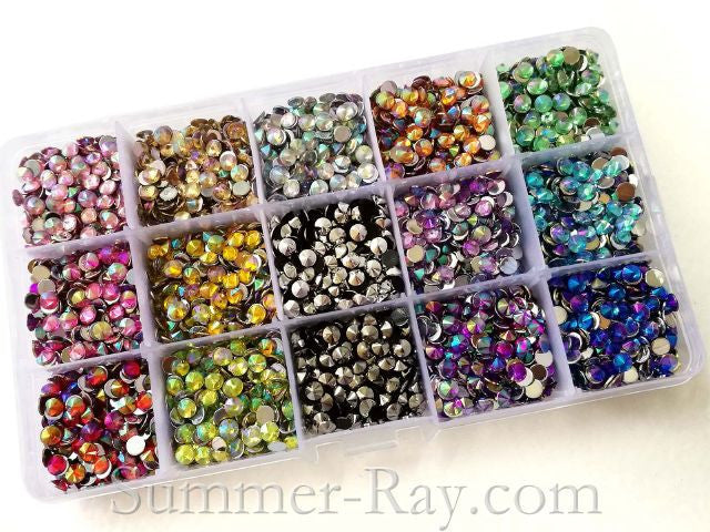 Rhinestones 5mm AB Pointed End Mixed Color in Storage Box - 4500 pieces