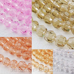 Rondelle Faceted Glass Beads 8mm - 44 pieces