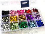 Rhinestones 8mm Mixed Color in Storage Box - 750 pieces