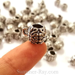 Tibetan Silver Bail Spacer Beads (T11529) - 25 pieces