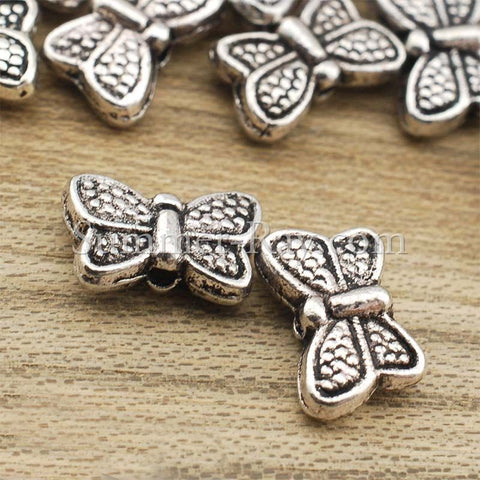 Tibetan Silver Spacer Beads - Butterfly (T86) 100 pieces