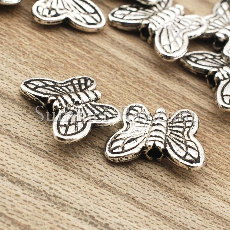 Tibetan Silver Spacer Beads - Butterfly (T24) 100 pieces