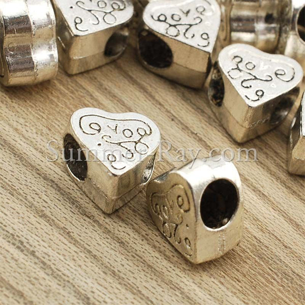 Tibetan Silver Spacer Beads - Heart (T450) 25 pieces