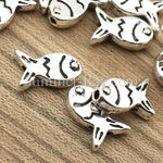 Tibetan Silver Spacer Beads - Fish (T1098) 100 pieces