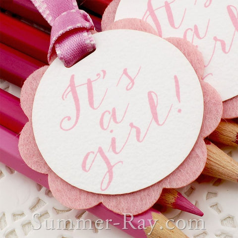 """It's a Girl"" Baby Shower Gift Tags"