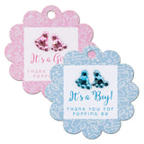 Baby Shower Scallop Favor Gift Tags with Baby Feet Rhinestones