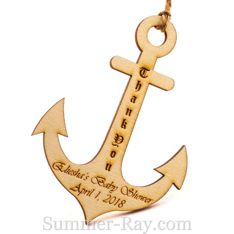 Personalized Wooden Anchor Baby Shower Gift Tags