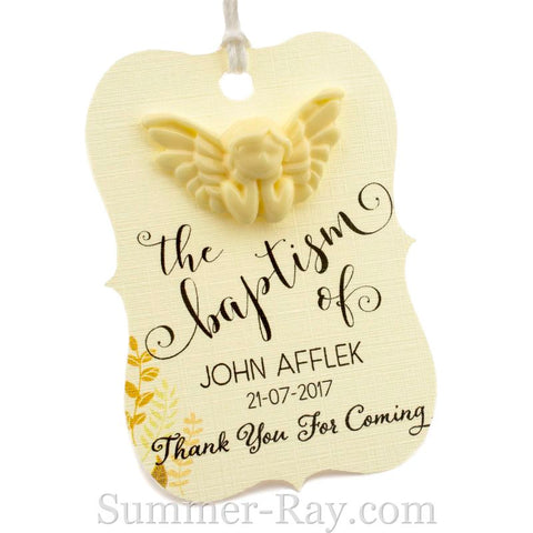 Personalized Cream Angel Little Violin Baptism Gift Tag