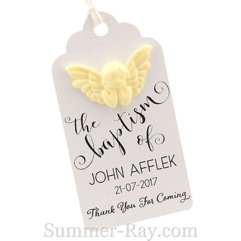 Personalized White Angel Royale Baptism Gift Tag