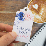 Thank You Tags with Blue Floral Wedding Bridal Shower Favors Tags Gift Tags