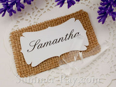 Personalized Burlap Place Card #2 with Acrylic Stand