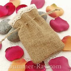Hessian Burlap Drawstring Bag with Lace Trim
