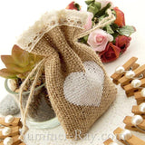 Hessian Burlap Drawstring Bag with Heart and Lace Trim