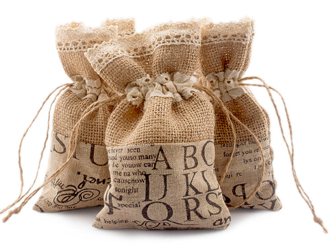 "Hessian Burlap Bag with Crochet Lace & Linen Cloth (6.2"" x 3.8"") for Rustic Wedding Favors"