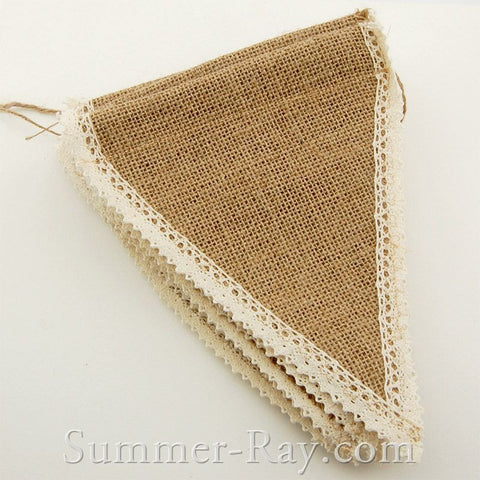 Hessian Burlap Bunting with Crochet Lace