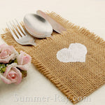 Hessian Burlap Cutlery Holder