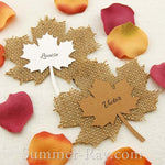 Personalized Burlap Maple Leaf Place Cards