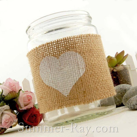 Burlap Mason Jar Wrap with White Heart