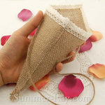 80 mm Rustic Burlap Pew Cones with Lace Trim