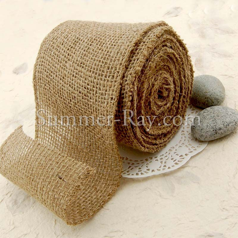 100 mm Natural Jute Burlap Wired Edge Ribbon