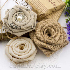 Handmade Burlap Roses with Felt Back