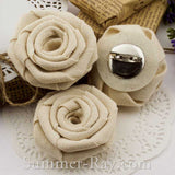 Handmade Burlap Roses with Brooch Pin