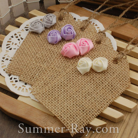 DIY Burlap Tag with Satin Roses