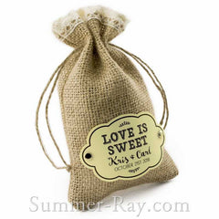 Personalized Cream Gift Tags and Brads for Burlap Bags