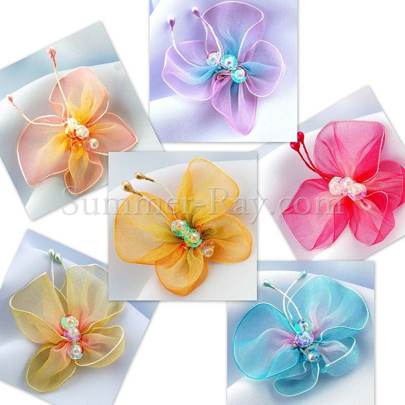 Fabric Embellishment - Organza Butterflies 12 or 50 pieces