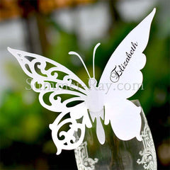 Personalized White Butterfly Wine Glass Place Card