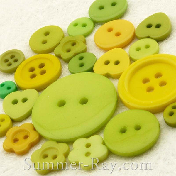 Doll Button Mixed Green Series