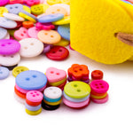 Mixed Design Buttons with 2 Felt Organizers/Containers DIY Craft Sewing