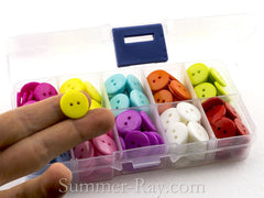 Doll Buttons 15 mm (2 eye) in Storage Box - 200 pieces
