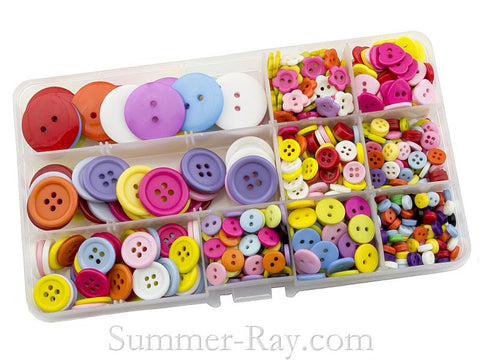 Mixed Size and Color Doll Buttons in Storage Box - 750 pieces