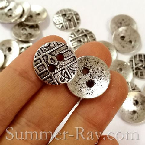 Tibetan Silver Buttons - Two Eye 25 pieces