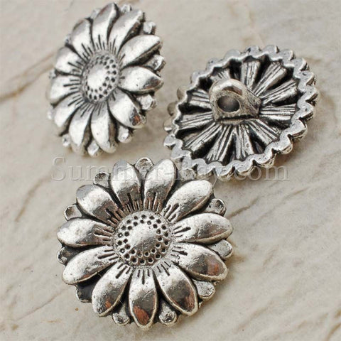 Tibetan Silver Buttons - Daisy 25 pieces