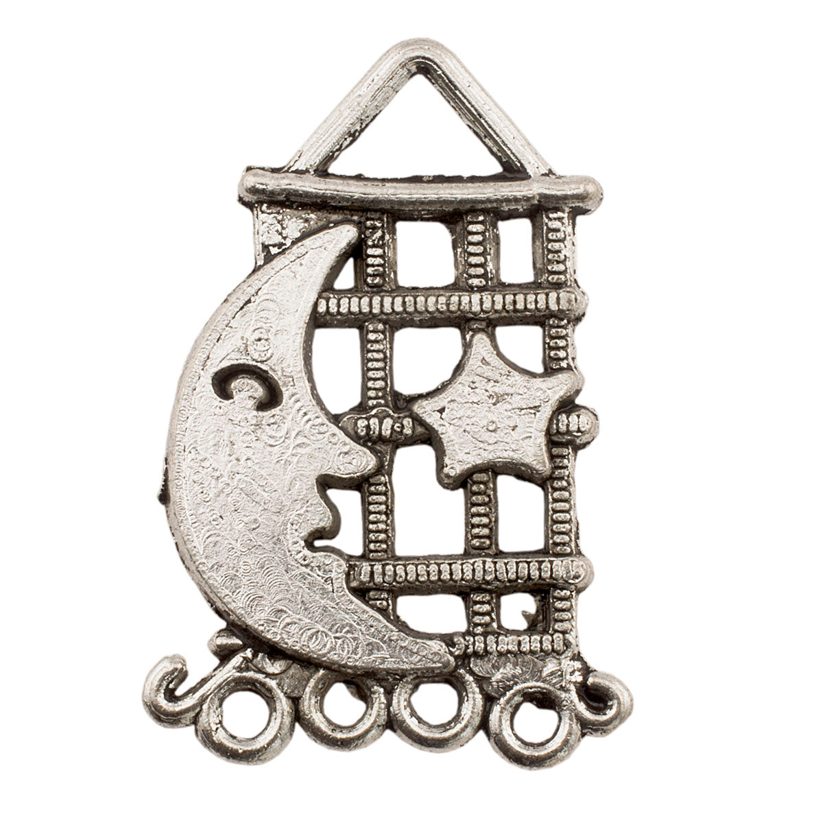 Tibetan Silver Moon and Star Earring Chandlier Charm Pendant