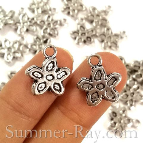 Tibetan Antique Silver Flower Charm Pendant