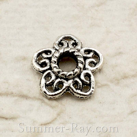 Tibetan Silver Flower Cap Connector