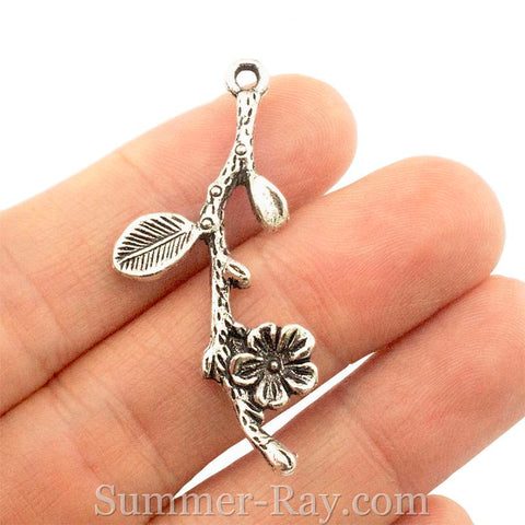 Tibetan Silver Flower on a Twig Charm Pendant