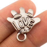 Tibetan Silver Baseball Glove with Love Charm Pendant