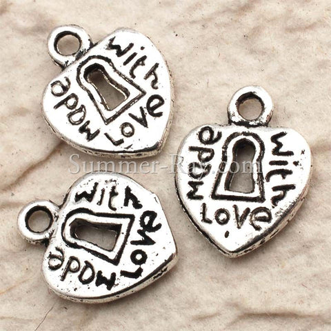 Tibetan Silver Lock Heart Made-with-Love Charm Pendant